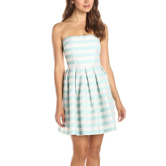 Minuet Dresses & Skirts - NEW - Strapless Stripe Dress with Pleated Skirt